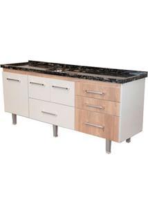 Gabinete De Cozinha New Life 197,4X55Cm Branco E Madeirado Bonatto
