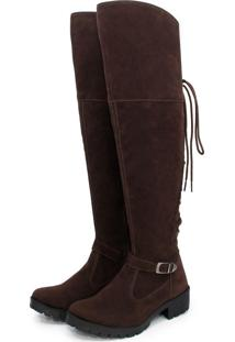Bota Feminina Over The Knee Br2 Lady De Amarrar Camurca Cafe