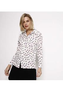 Camisa Floral Amassada- Branca & Vermelhahering