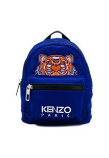 Kenzo Mochila Com Bordado De Tigre Pequena - Azul