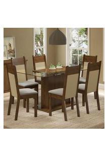 Conjunto Sala De Jantar Madesa Atlanta Mesa Tampo De Vidro Com 6 Cadeiras - Rustic/Crema/Pérola Marrom