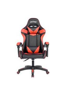 Cadeira Gamer Pctop Strike, Com Almofadas, Encosto Ajustável, Preto/Vermelho - 1005