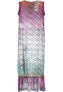 Aries Vestido Midi Com Renda Floral - Roxo