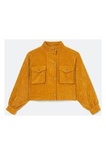 Jaqueta Lisa Com Bolsos Frontais Em Veludo | Blue Steel | Amarelo | M