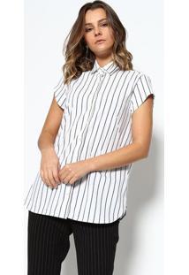 c760509a87 ... Camisa Listrada - Branca   Preta - Dudalinadudalina