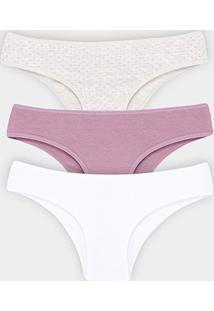 Kit Calcinha Elegance Cotton 3 Peças - Feminino-Rosa+Branco