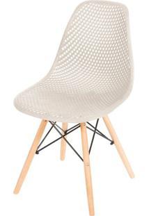 Cadeira Eames Furadinha Cor Fendi Com Base Madeira - 50007 Sun House