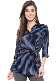 Camisa Estilo Boutique Viscose Stripes Azul