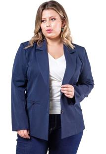 Blazer Plus Size Two Way Basic - Palank Azul Marinho