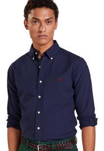 Camisa Ralph Lauren Masculina Custom Fit Classic Azul Marinho