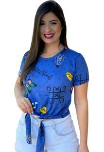 Blusa T-Shirt Cropped Amarraã§Ã£O Blogueira Azul Estampada - Azul - Feminino - Dafiti