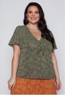 Blusa Almaria Plus Size Pianeta Crepe Feminina - Feminino-Verde