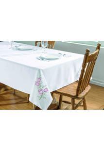 Toalha De Mesa Dourados Enxovais Primavera 2,50X1,40 Branco/Pink,