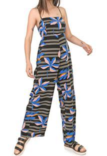 Macacão Cantão Pantalona Tenda Preto/Azul - Kanui