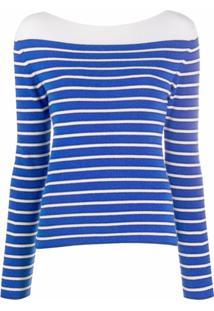 Barrie Suéter De Cashmere Com Listras - Azul