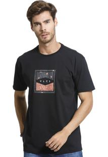Camiseta Standard Vlcs Logotipia Malha Penteada Preta
