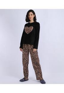 Pijama De Fleece Feminino Coração Com Animal Print Onça Manga Longa Preto