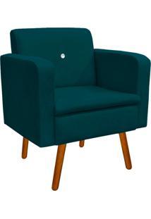 Poltrona Decorativa Emília Suede Azul Pavão Com Strass - D'Rossi