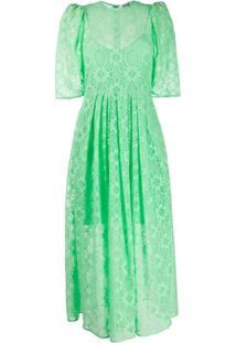 Msgm Vestido Midi Com Renda Floral - Verde