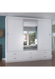 Guarda-Roupa Casal 3 Portas Com 1 Espelho 100% Mdf 1341E1 Branco - Foscarini