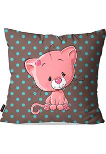 Capa De Almofada Pump Up Avulsa Infantil Marrom Baby Cat 45X45Cm