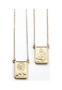 98205ca3467 ... Escapulário Ouro Nossa Senhora Do Carmo E Sagrado Coração De Jesus