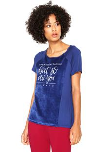 ... Camiseta Malwee Veludo Life Is Nice Azul 1909b410594