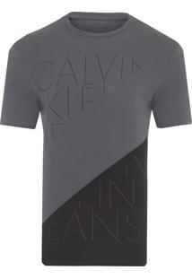 Camiseta Masculina Ckj Diagonal - Cinza