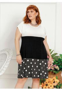 Vestido Plus Size Tricolor Com Recortes