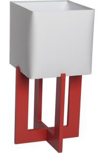 Abajur Square 01 Base Vermelha Cúpula Cinza - 44X22Cm