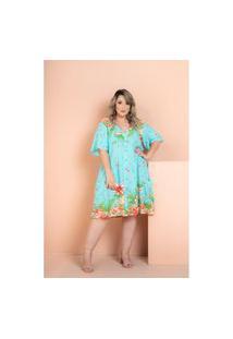 Vestido Rayon Poplin Flores Azul Plus Size 54 Maria Rosa Plus Vestido Azul
