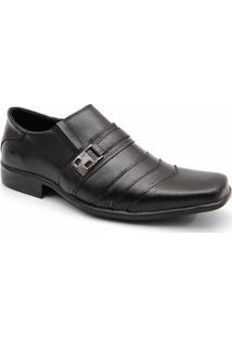 Sapato Social Masculino Couro Detalhes Costuras Garra - Masculino-Preto