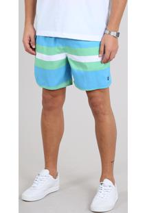 Short Masculino Listrado Com Bolso Azul Claro