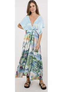 Vestido Feminino Blueman Longo Assimétrico Estampado Paraíso Manga Curta Verde Água