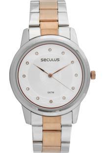 Relógio Seculus 77018Lpsvgs2 Prata/Rosa