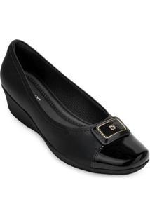 Sapato Anabela Piccadilly Feminino - Feminino-Preto