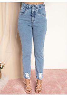 Calça Jeans Azul Claro Efeito Destroyed E Bolsos