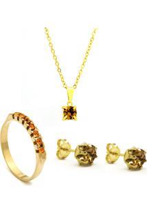 Conjunto Horus Import - Gargantilha Pingente - Brincos - Meia Aliança - Banhado Ouro Amarelo 18K - Kit10544 - Amarelo Citrino
