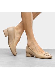 Scarpin Couro Comfortflex Salto Baixo Com Fivela - Feminino-Nude