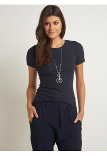 Blusa Le Lis Blanc Vitoria Iv Malha Azul Feminina (Marinho Netuno, M)