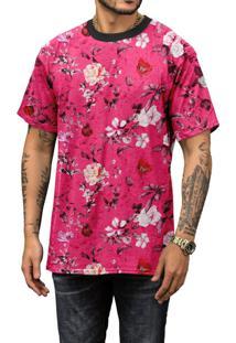 Camiseta Di Nuevo Rosa Floral Verão 2019 Top Rosa