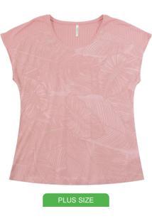 Blusa Manga Curta Com Estampa Rotativa Rosa