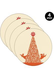 Capa Para Sousplat Mdecore Natal Arvore De Natal Bege 4Pçs