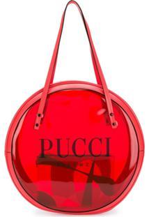 Emilio Pucci Bolsa Tote Redonda De Vinyl - Vermelho