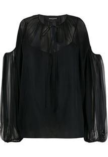 Rochas Blusa Translúcida Com Recorte Nos Ombros - Preto