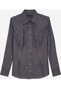 Camisa Dudalina Manga Longa Fio Tinto Estampada Feminina (Listrado, 38)