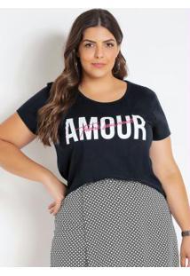 T-Shirt Preta Plus Size Com Bordado Neon