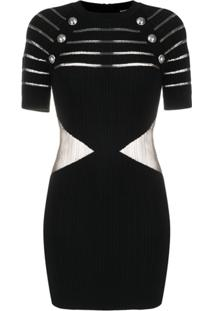 Balmain Sheer-Panel Decorative-Button Dress - Preto