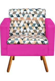 Poltrona Decorativa Emília Estampado Triangulo D87 Com Suede Pink - D'Rossi