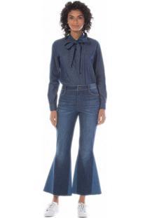 Calça Maria Valentina Cropped M. Luiza Cos Intermediario Recorte Pernas Jeans